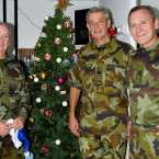 RQMS William Hallows, Sergeant Major Philip Hayden, and CQMS Michael Stynes from the Curragh: