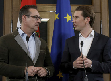 Heinz-Christian Strache, left, chairman of the right-wing Freedom Party, FPOE, at a press conference with Foreign Minister and leader of the Austrian People's Party, OEVP, Sebastian Kurz.
