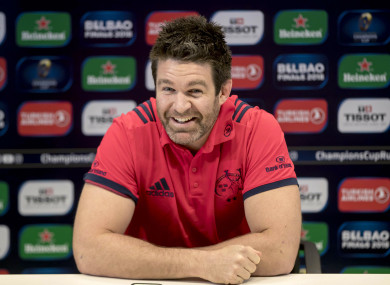 Holland shares a joke with the media in Limerick earlier this week.