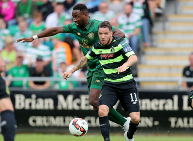 Darren Meenan tangling with Moussa Dembele while playing for Shamrock Rovers in a friendly against Celtic last July.