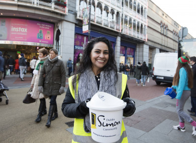 Karla Trombley from Mexico helping the Simon Community charity collect money for the homeless.