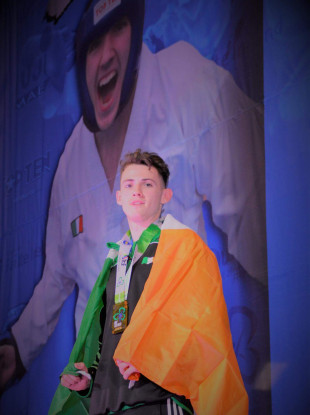 Jamie Williams won a gold medal at the Taekwondo World Championships in Dublin back in October.