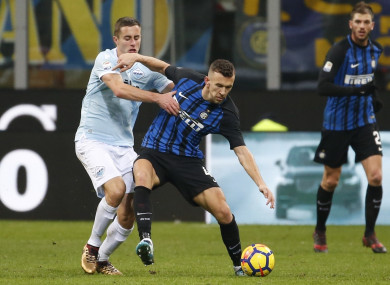 Ivan Perisic challenged by Lazio's Adam Marusic.