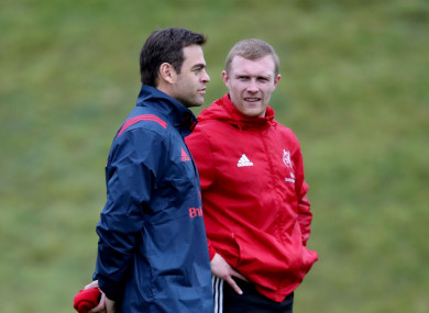 Johann van Graan and Keith Earls during Munster training at UL today.