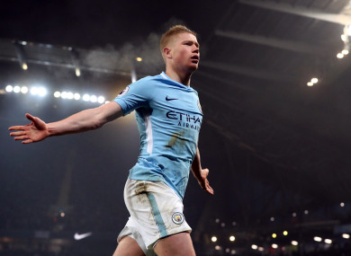Kevin De Bruyne has been in phenomenal form for league leaders Man City.