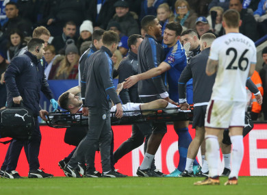 Ireland international Robbie Brady is stretchered off at the King Power Stadium.