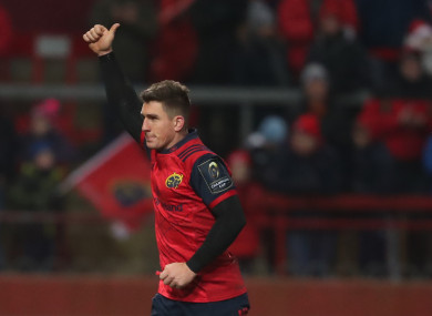 Keatley salutes the Thomond faithful as he makes his way off after a classy performance.