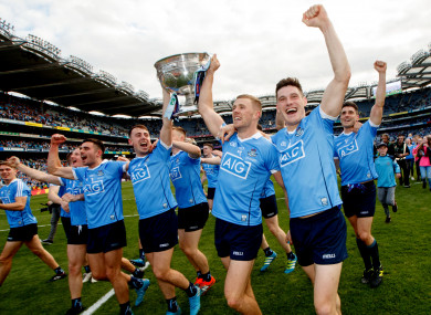 Dublin players celebrating their All-Ireland victory.
