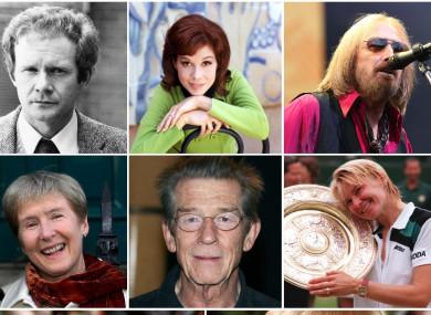 Top: Martin McGuinness, Mary Tyler Moore, Tom Petty. Middle: Ann Louise Gilligan, John Hurt, Jana Novotna. Bottom: Jimmy Magee, Liz Dawn.