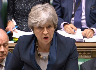 UK Prime Minister Theresa May speaks during Prime Minister's Questions in the House of Commons, London.