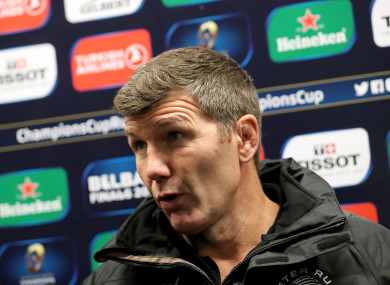 Rob Baxter speaks to the media after his side's defeat to Leinster.