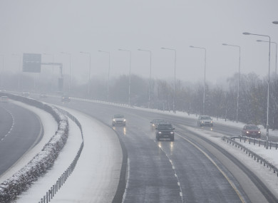 Snowfall on the M7 at Laois yesterday.