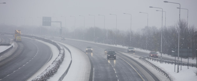 Snowfall on the M7 at Laois.