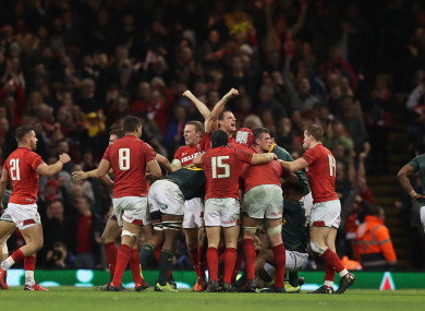Wales celebrate their win at the final whistle.