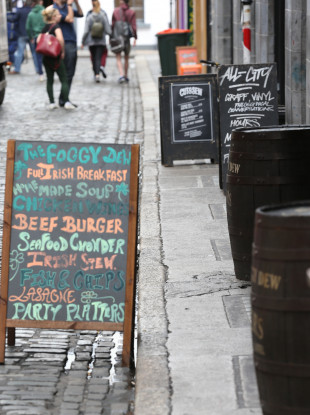 Advertising boards in Dublin's Temple Bar.