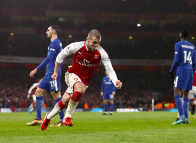 Wilshere celebrates his goal against Chelsea.