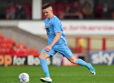 Darragh Leahy in possession for Coventry City during a pre-season friendly back in July.