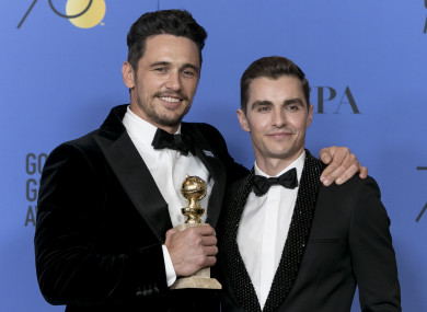 James Franco )left) with his brother Dave at Sunday's Golden Globe awards.