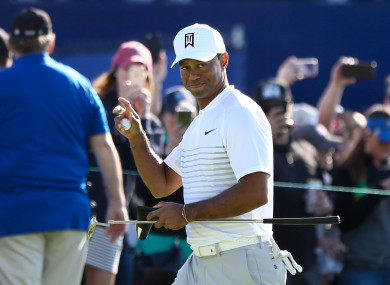Woods was playing in the third round of the Farmers Insurance Open on Saturday.