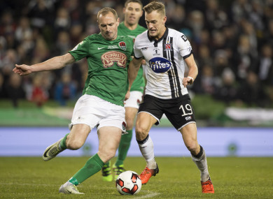 Dean Shiels tangles with Cork City's Colin Healy while playing for Dundalk in the 2016 FAI Cup final.
