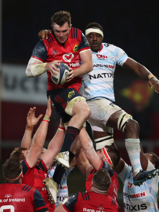 Munster's Peter O'Mahony and Racing 92's Yannick Nyanga in Thomond Park last October.