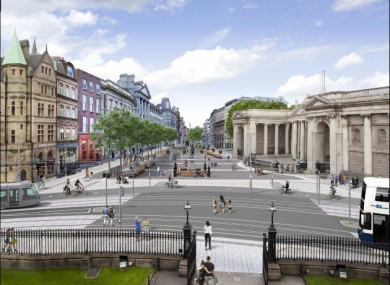 The proposed College Green Plaza looking from Trinity College.