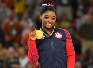 Biles after winning gold at Rio 2016.