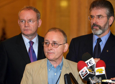 Martin McGuinness, Denis Donaldson and Gerry Adams at a party event in 2005.