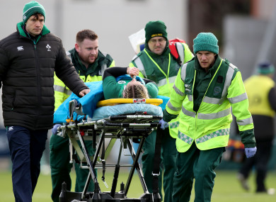 Miller received treatment on the pitch before being brought to hospital.