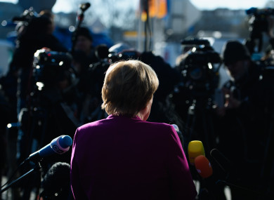 German Chancellor Angela Merkel speaking to the media yesterday