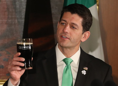 Paul Ryan holding a pint of Guinness ahead of last year's St. Patrick's Day.