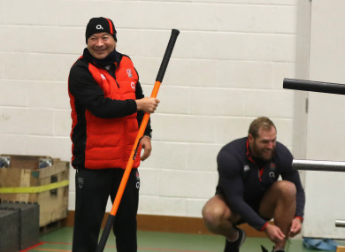Eddie Jones wielding his new encouragment method at England training today.