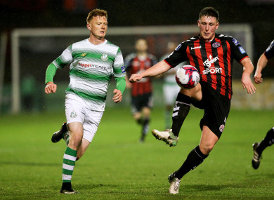 Bohs goalscorer Dan Casey with Rovers striker Gary Shaw.