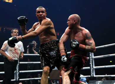 Chris Eubank (left) and George Groves (right) during the WBA Super-Middleweight title fight.