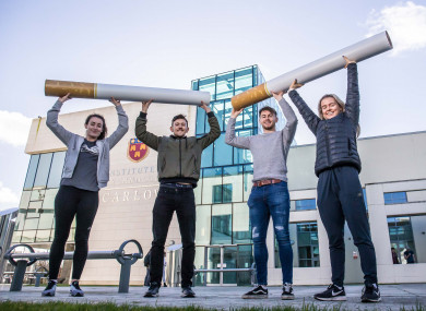 Athlete Molly Scott, hurler Colin Dunford, athlete John Fitzsimons and soccer international Roma McLaughlin launch the ITC campaign.