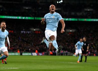 Vncent Kompany scores for Manchester City in the EFL Cup final