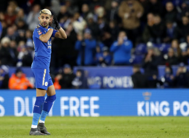 Leicester City's Riyad Mahrez gestures to the fans during the Emirates FA Cup, Fifth Round match.