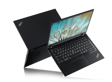 A Lenovo ThinkPad X1 Carbon laptop (7th Generation).