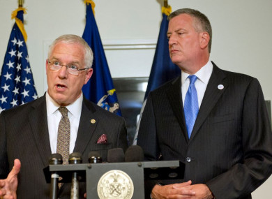 File photo of NYPD Deputy Commissioner of Intelligence and Counterterrorism John Miller and Mayor Bill de Blasio