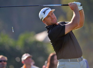 Graeme McDowell plays his shot from the 17th tee during the third round of the Genesis Open.