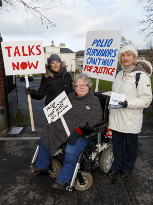 Justice for Polio Survivors campaign group outside Rehab's premises in Sandymount