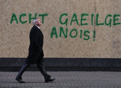 Graffiti on a wall in Belfast calling for an Irish Language Act in Northern Ireland.
