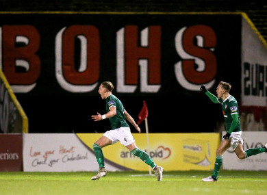 Ronan Curtis celebrates scoring for Derry City on Tuesday night.