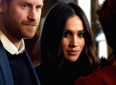 Prince Harry and Meghan Markle at a reception in Edinburgh.