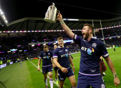 Scotland's Ryan Wilson celebrates with the Calcutta Cup.