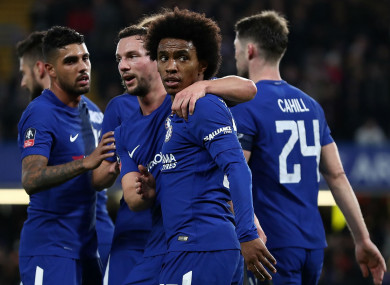Chelsea celebrate with Willian.