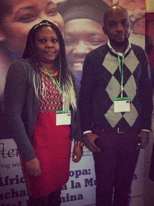 Naomi Manu, Cork-based Champion for Change, and Rodrigue Bukungu, men's group facilitator, representing ActionAid Ireland at a conference about FGM in Toledo, Spain, last month.