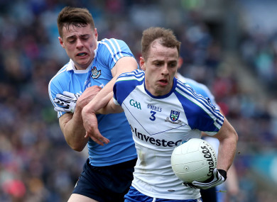Dublin's Brian Howard and Conor Boyle of Monaghan.