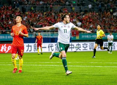 Gareth Bale celebrating one of his three goals.