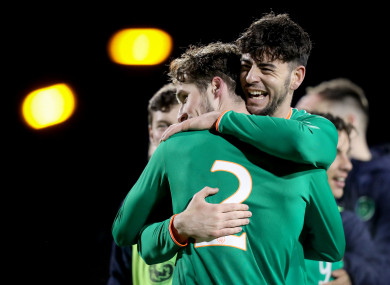 Ireland's Corey Whelan and Joe Quigley celebrate after the game.